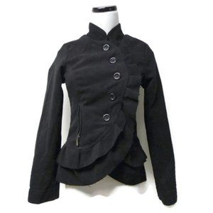 Oleg Cassini black overlap front jacket